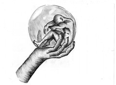 Trapped inside my own dome (twiing) Tags: white black art love illustration person 1 sketch blackwhite hand sad emotion drawing sketching dome bubble trap