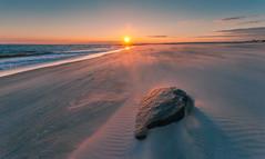 Lone 孤 (kaising_fung) Tags: beach sun sea sunset seaside space rock winter vast open brooklyn cold windy