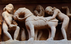 Inappropriate Medieval Behaviour (peterkelly) Tags: digital asia india canon 6d khajuraho kamasutratemple stone sandstone carving horse sex beastiality medieval abuse animal