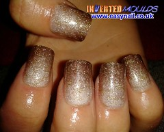 Cheryl Silver to Dark Gold Glitter Blend (invertednailsystems) Tags: uk pink orange black art yellow glitter training silver gold amazing neon pretty im nail powder course nails salon technician extension inverted false ims extensions nailart courses moulds enuk invertednailsystems easynail easynailuk
