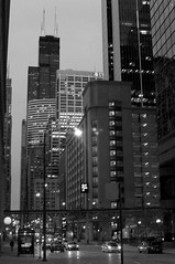 Evening Rush (bclinesmith) Tags: street blackandwhite bw chicago night franklin spring downtown cityscape loop il rush afsdxnikkor35mmf18g