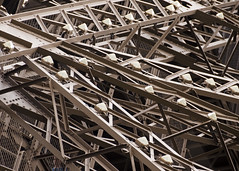 Eiffel Tower: puddled iron, rivets, and lights. (Gerald Lau) Tags: paris architecture wroughtiron eiffeltower eiffel puddlediron
