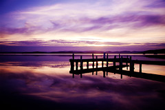 Squid's Ink (Leighton Wallis) Tags: sunset reflection clouds pier purple dusk belmont jetty australia nsw newsouthwales lakemacquarie squidsink