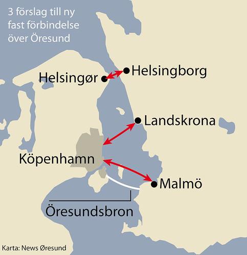 öresundsregionen karta Karta forbindelse Landskrona Kopenhamn svenska öresundsregionen karta
