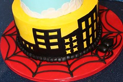 Zack's Superhero Cake (mandotts) Tags: birthday blue boy red sky black yellow cake clouds buildings spider spiderman superman hero superhero batman fondant buttercream sugarpaste superz