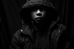 Filipino Nose (Niwreig) Tags: lighting white black photography high key jacket strobe