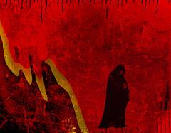 Monkhood (AK Rockefeller) Tags: red art texture idea heaven meditate thought surrealism prayer religion pray hell surreal monk cardboard mind collageart creativecommons meditation akrockefeller
