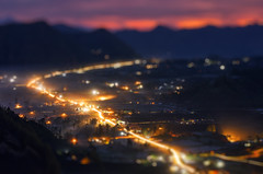 Kintamani Micro City [Explored] (eggysayoga) Tags: bali mist fog sunrise indonesia miniature nikon bokeh sigma mount trail filter 09 lee nd 70200mm kintamani tiltshift bangli gnd d7000
