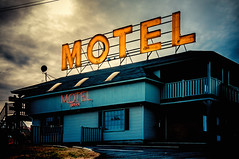 Motel (Sky Noir) Tags: sign photography neon moody decay atmosphere motel americana roadside motorhotel skynoir