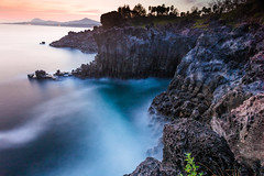 Majestic Jusangjeolli (DMac 5D Mark II) Tags: ocean longexposure sunset sea seascape water rock landscape coast ancient formation shore coastline bluehour southkorea jeju volcanic geological columnarjointing jusangjeolli 주상절리