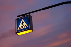 Across the Sky (x ME x) Tags: light sky sign clouds nikon traffic dusk illumination minimal illuminated zebra pedestrians crosswalk sonnenaufgang zebrastreifen verkehrsschild fussgnger crosswalksign d5200