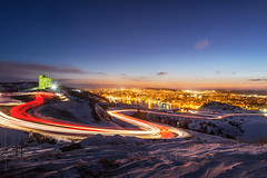 Signal hill light trail, St. John's (tuanland) Tags: road lighting street city longexposure winter snow canada building architecture night newfoundland evening twilight nikon downtown cityscape harbour hill stjohns clear bluehour signalhill nfld nightfall atlan
