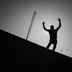 Put your hands up in the air... (Thomas Leuthard) Tags: street leica white black training photography video flickr fuji thomas streetphotography olympus monochrom ebook omd hcb leuthard thomasleuthard
