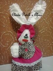 Coelha oncinha. (Cleide Patch e Afins) Tags: de pano páscoa boneca estampa tecido enfeite oncinha coelha