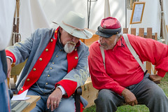 Sharing Stories (Kevin MG) Tags: usa losangeles sanpedro angelsgate fortmacarthur warreinactment men red blue california costumes costume cosplay