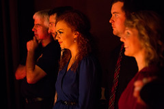 Derrick Cameron, from left, Mac Morin, Margie Beaton, Kyle MacDonald and Melody Cameron watch fellow performers from just off stage. (photo: Steve Wadden)