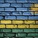 National Flag of Rwanda on a Brick Wall