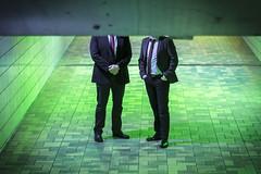 Very Important Men (jener.sebastian) Tags: very important men green light portrait suits ties businessmen no faces nofaces blocked unterführung