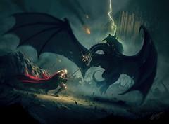 Eowyn and the Nazgul (brianaudano) Tags: lordoftherings eowyn witchkingofangmar pelennorfields deathoftheoden iamnoman fellbeast minastirith tolkien