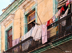 ... (Jean S..) Tags: clothes clothesline balcony windows cuba yellow green outdoor matanzas red pink