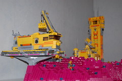 Sideview (sander_koenen92) Tags: lego space mining tower lava platform outpost container ship crane crystals
