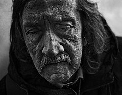 Portrait (Ales Dusa) Tags: streetshot streetportrait face oldwrinkledman blind blindoldman eyes outdoor elderly canon5d beggar poorperson blindoldbeggar bw blackandwhite