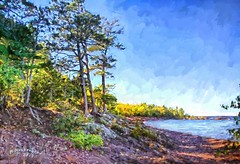 Hunter's Point Park, Copper Harbor Michigan (PhotosToArtByMike) Tags: copperharbor hunterspointpark digitalpainting rockycoastline michigan mi keweenawpeninsula upperpeninsulaofmichigan lakesuperior rockformations bluewater upperpeninsula up uppermichigan