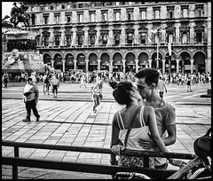 Just a Kiss (Petricor Photography) Tags: milan milano street photography canonpersonalconnection candid black white blackandwhite and people urban