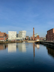 IMG_0335.jpg (sarah4333) Tags: liverpool march sunny docks city centre mersey side reflections reflection modern building albert quay museum historical warehouse red brick water basin dock merseyside buildings