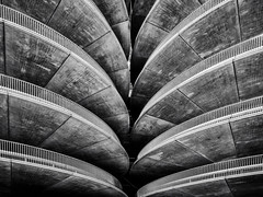 Parking Garage B/W (mcalma68) Tags: black white architecture detail symmetry shapes perspective view amsterdam rai p4