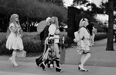 Houston Street Gang (burnt dirt) Tags: houston texas downtown city town mainstreet street sidewalk streetphotography fujifilm xt1 bw blackandwhite girl woman people person animae cosplay costume uniform matsuri convention lolita group crowd longhair shorthair curlyhair sword heels boots stilettos blonde bag purse cellphone phone stockings whitestockings thighhigh kneehigh discoverygreen georgerbrown