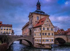 Altes Rathaus on the Obere Brcke over the Regnitz River in Bamberg Germany (mbell1975) Tags: world old city bridge cloud building heritage fall river germany bayern deutschland town hall site cloudy cityhall over eu bamberg unesco german government townhall brcke rathaus altstadt oldtown deutsch whs altes bayer regnitz obere