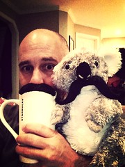 Day 144 of 365 - Coffee Down Under (sluggoman) Tags: selfportrait coffee starbucks coffeemug mustache spc 365days 365daysproject uploaded:by=flickrmobile flickriosapp:filter=mammoth mammothfilter