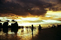 07350007 (littlelionboy) Tags: ocean blue sunset red sea sky orange film beach water yellow clouds 35mm gold boat friend rocks philippines diving iso snorkeling shore land sail boracay breeze cottages