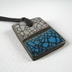 Raku Pendant: Aqua (Jude Allman) Tags: ceramic ceramics crafts craft jewelry jewellery jude clay pottery crackle raku pendant pendants allman