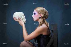 Woman with a skull, studio shot (simonafrankensttein) Tags: portrait black sexy love halloween girl beautiful beauty horizontal female dead death skull women sitting looking dress posing shakespeare babe tragedy soul blonde actress horror corset theme shock nightmare dame hamlet oneperson symbolic elegance consternation 2025years onewomanonly