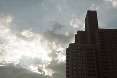 (pop archaeologist) Tags: city nyc shadow sky newyork film architecture brooklyn clouds kodak crownheights 1960s condos apartmentbuilding retinaiia uncoatedlens