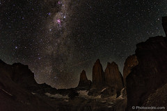 We arrived at 6AM to the Torres. Total night, with all the milkyway! (Photocedric) Tags: chile patagonia night america stars chili sur torresdelpaine patagonie sud torres paine amerique
