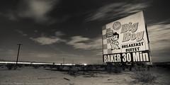 Baker Bob's Big Boy Breakfast Buffet Billboard (dejavue.us) Tags: california road longexposure nightphotography blackandwhite clouds restaurant nikon baker desert diner billboard fullmoon nikkor bigboy bobs mojavedesert d800 i15 lightstream 1835mmf3545d vle