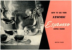 How to Use Your Atomic Espresso Coffee Maker (Alan Mays) Tags: old pink black coffee triangles vintage paper typography books ephemera equipment type espresso british instructions covers atomic fonts printed bookcovers appliances typefaces manu