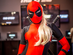 Lady Deadpool cosplay at Igromir 2013 (Sergey Galyonkin) Tags: show game girl beautiful expo cosplay russia moscow games boothbabe 2013 igromir