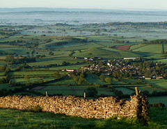 Dry Stone Wall (Mukumbura) Tags: uk morning autumn trees light england mist beauty fog stone wall sunrise landscape outdoors dawn countryside october scenery dry somerset hills tranquil drystone priddy walling somersetlevels peacefulscene mendiphills westburysubmendip deerleap welcomeuk