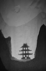 Teml yn y niwl / Temple in the mist (FfotoMarc) Tags: art temple photography silhouettes craft lantern allrightsreserved sumie celf ffotograffiaeth papur dylunio foundationartdesign llusern universityofsouthwales prifysgoldecymru cedwirpobhawlfraint foundationartsdesign copyrighthawlfraintmarcevans2013
