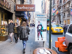 hue (wwward0) Tags: street nyc afternoon phonebooth manhattan taxi advertisement midtown barbecue koreatown leggings crowded