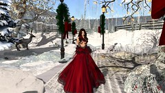 Blood Red Snow (alexandriabrangwin) Tags: winter red woman snow alexandria forest computer scarlet 3d graphics dress formal deer secondlife virtual gown elegant cgi brangwin