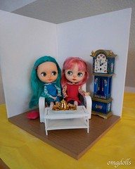 Nell and Miri testing the diorama