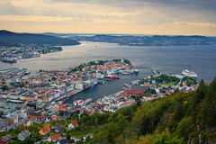 View of Bergen Harbor (Walter Levin) Tags: city cruise trees sunset sky cloud house mountains color building norway ferry clouds landscape harbor pier boat town colorful ship view hill scenic historic fjord nordic bergen scandinavia overlook slope 6d