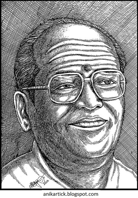 Popular Singer - T.M.SOUNDARARAJAN - T.M.S - One of the Great Legend Play Back Singers in Tamil Nadu - Portrait by Artist Anikartick,Chennai,Tamil Nadu,India