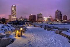 Goodbye, Polar Vortex -- Winter Night at Pier Wisconsin (johndecember) Tags: winter usa snow ice skyline wisconsin evening twilight gallery album january lakemichigan milwaukee hdr lakefront mke fused 2014 photomatixpro pierwisconsin photoscape