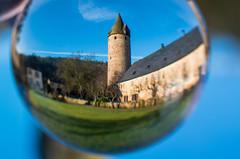 Burg Bruch (Simon Neutert) Tags: tower castle pentax bowl fisheye schloss turm glas burg glassbowl glaskugel fischauge crystalbowl